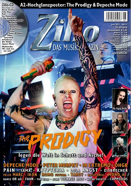 Cover Zillo Magazin - The Prodigy (Keith Flint) Foto by Bjørn Jansen