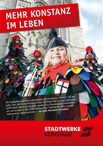 Werbekampagne: Mehr Konstanz im Leben - Stadtwerke Konstanz, Motiv: Fasnacht