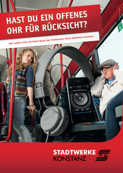 Werbefotografie für die Stadtwerke Konstanz, Kampagne Rücksicht nehmen